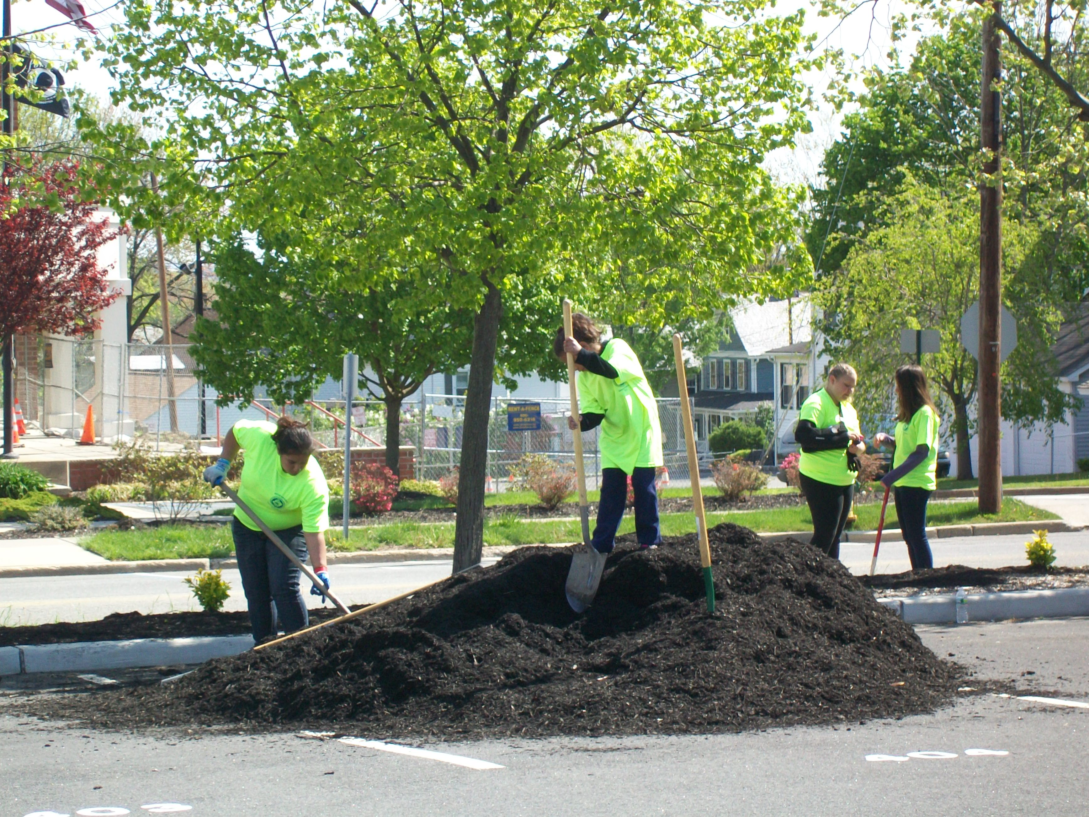 Spreading mulch in Lot #4 - Central Plaza